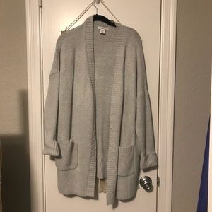 Oversized Grey Long Cardigan